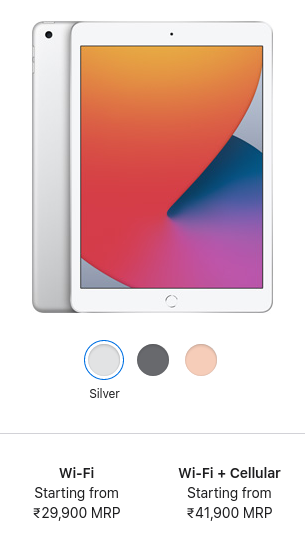 ipad 8th gen colors and price